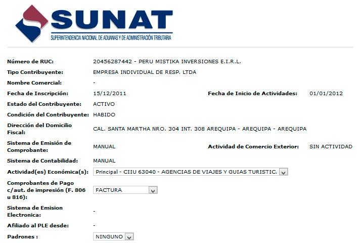 Registro de la SUNAT